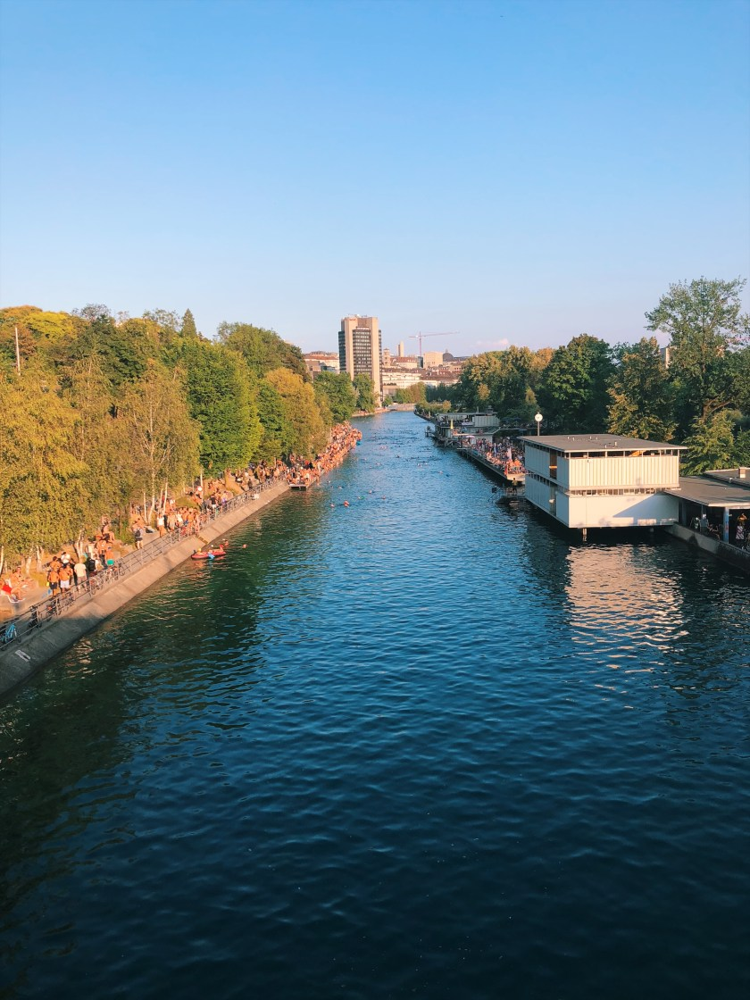 View over the Limmat swimming in Zurich