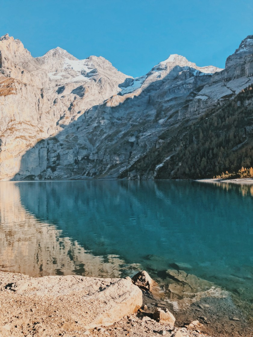 Lake reflections of Oeschinensee, Switzerland
