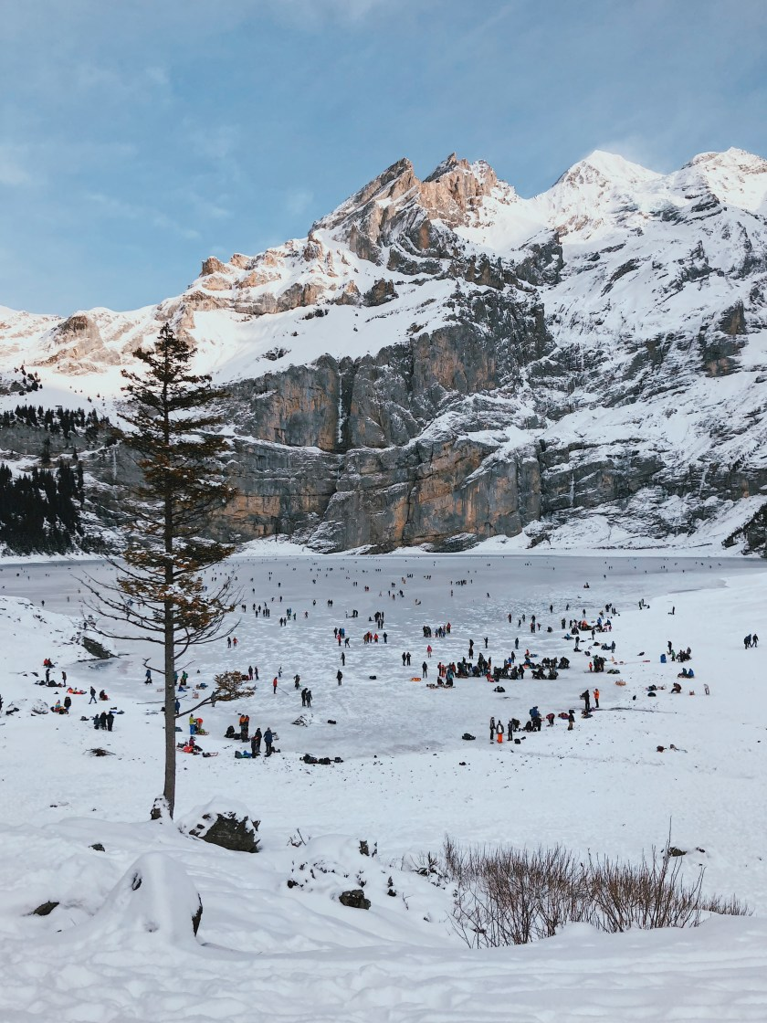 Frozen Oeschinensee in the winter, Switzerland