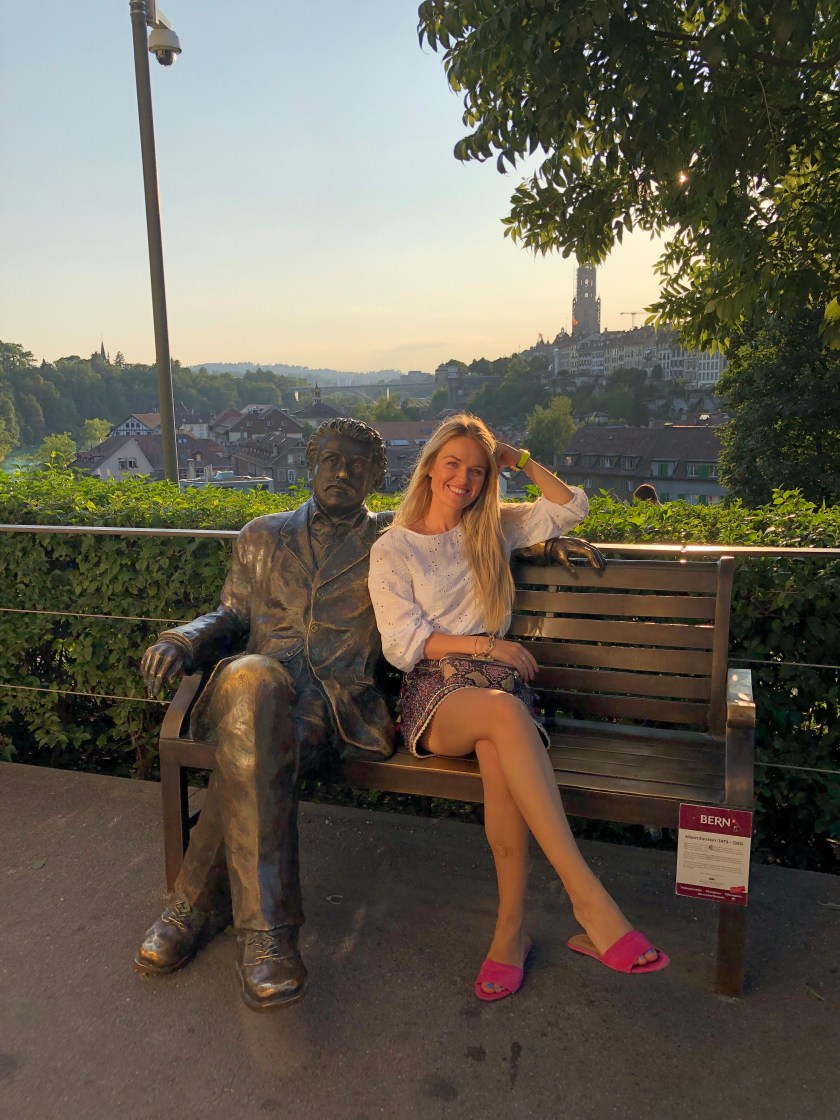 Sitting on a bench with Einstein in Bern, Switzerland