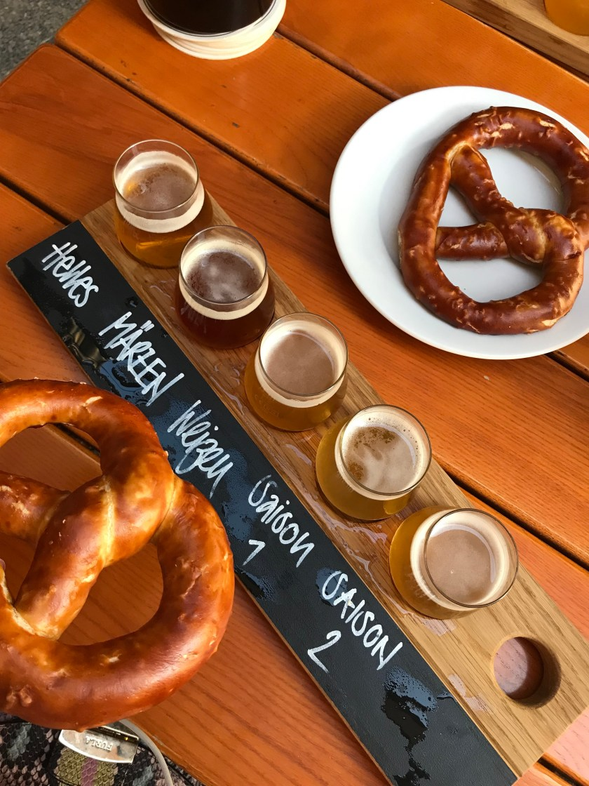 Local beer and pretzel in Bern Switzerland