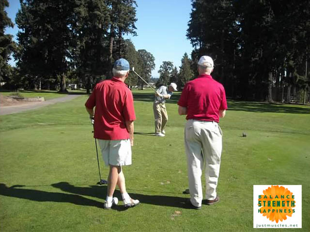 Image of men golfing