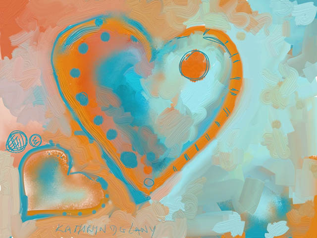 Image of blue and orange painted hearts by Kathryn Delany