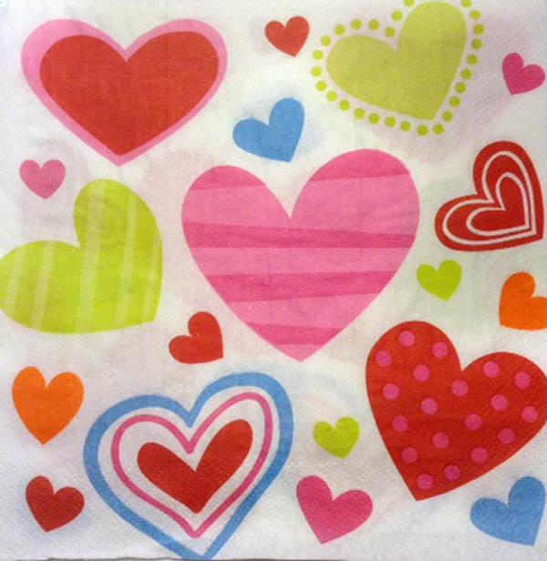 Image of colorful hearts napkin