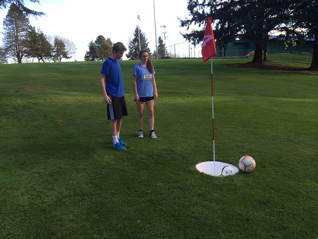 Image of foot golfing teens