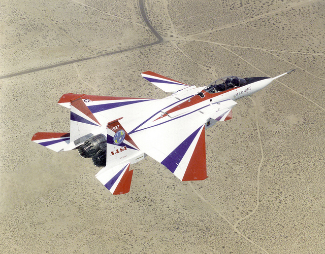 Nasa image of F-15B inflight over the Mojave desert