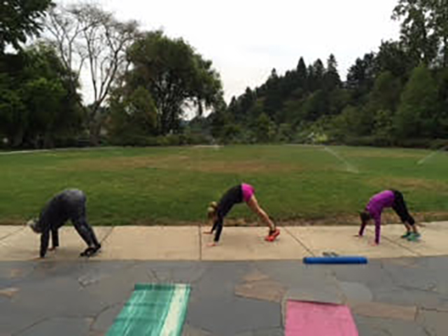 Image of people doing inchworm excercise