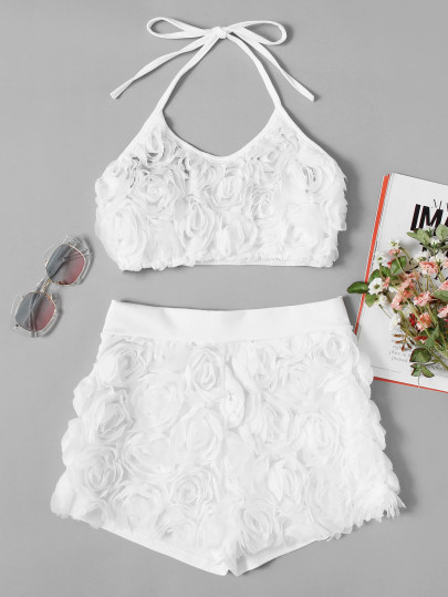 Stereo Flowers Halter Top With Shorts