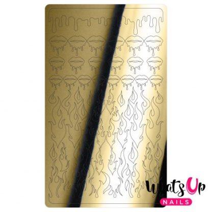 Dripping Flames Gold - Nail art stickers med flammer og dryppende læber