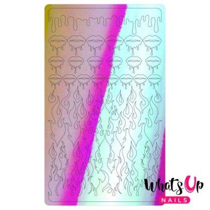 Dripping Flames pink - Nail art stickers med flammer og dryppende læber