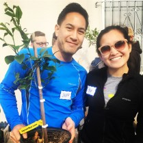 JOT Tree Raffle Winner Siv Lam and friend.