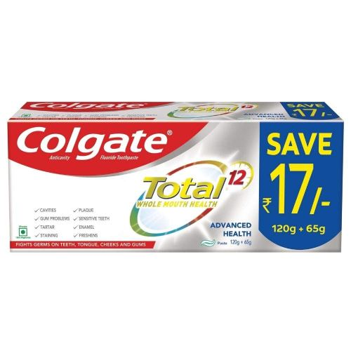 Colgate Total Advanced Health Anticavity Toothpaste - (120g+65g).