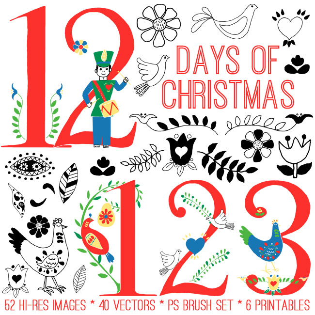 12 Days of Christmas Doodles