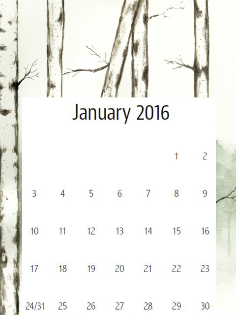 birch tree watercolor calendar