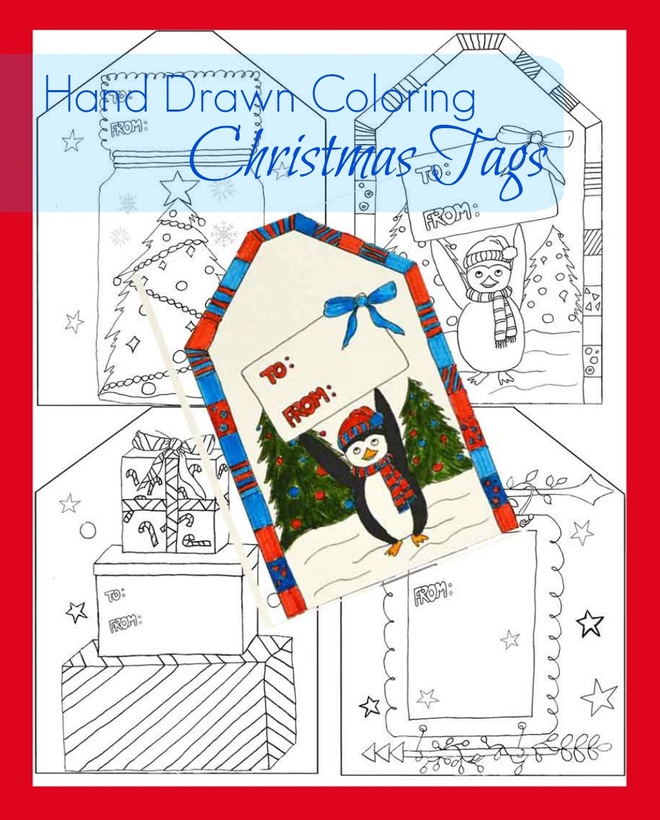coloring christmas tags