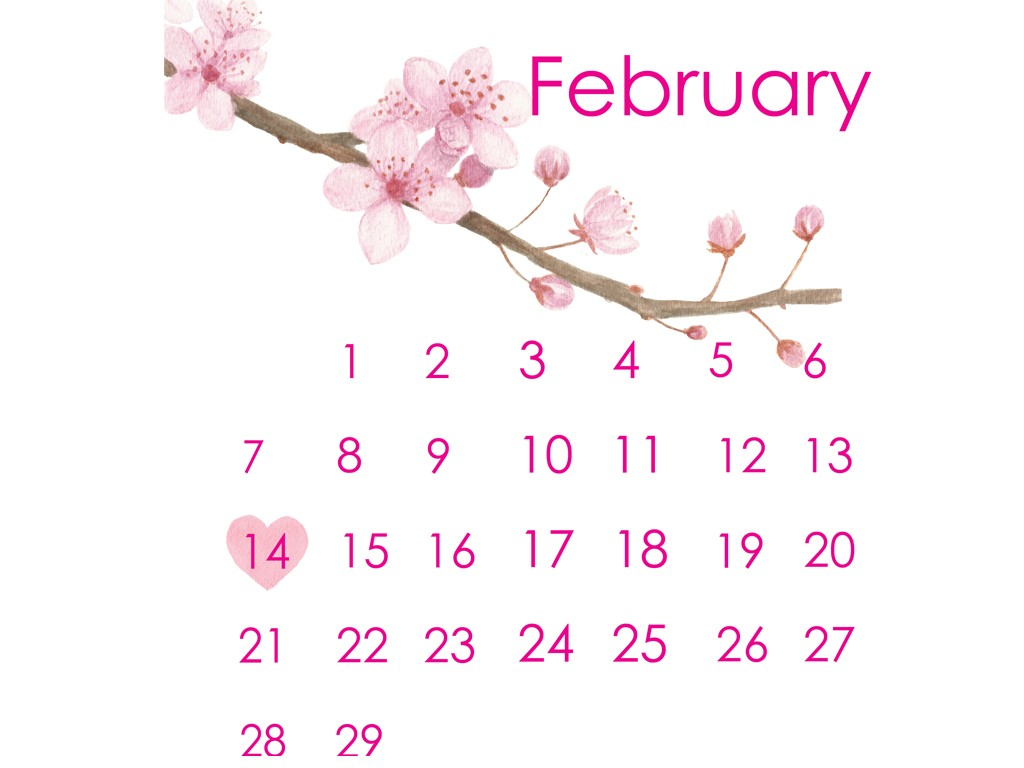 cherry blossom watercolor calendar