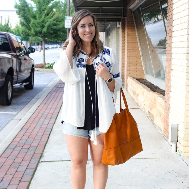 Summer Embroidered Kimono Outfit | Just Peachy Blog