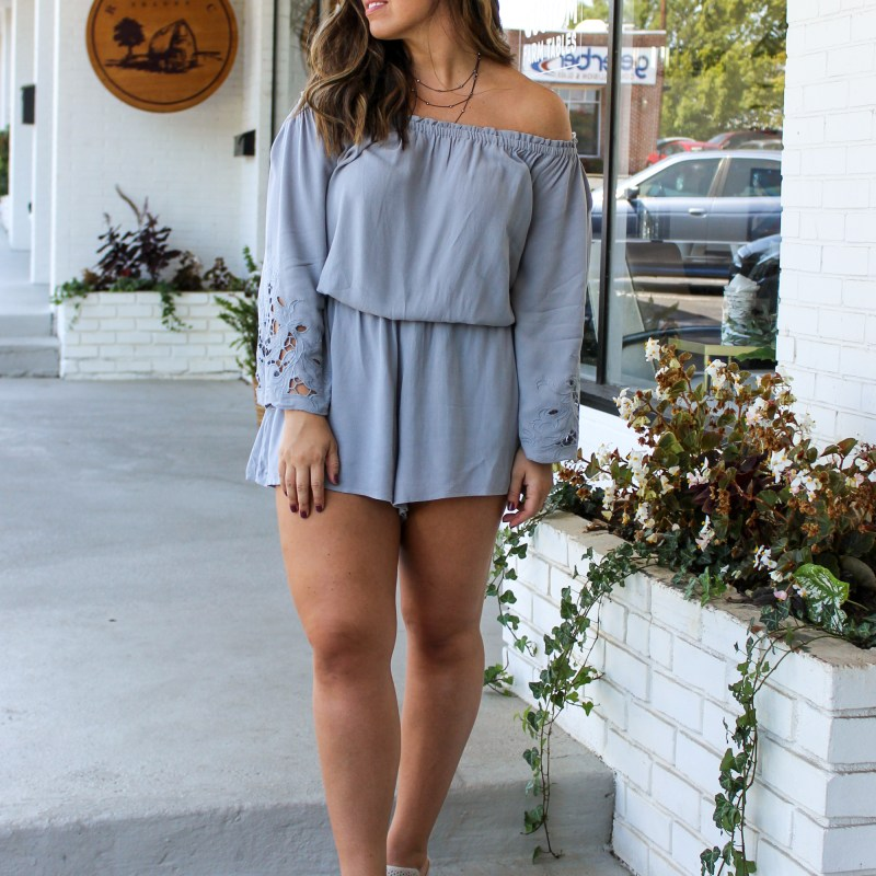 Off the Shoulder Romper Boho Bus