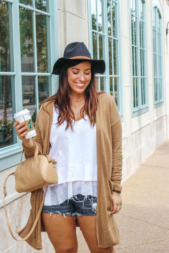 Fall Duster Cardigan and Cutoff Shorts | Just Peachy Blog