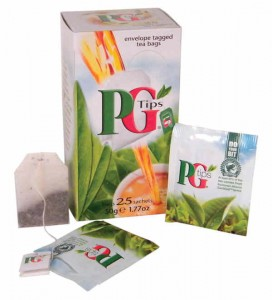 Box of 25 individually wrapped PG Tips tea bags.
