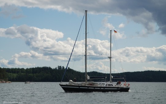 a motosailer in stockholm archipelago