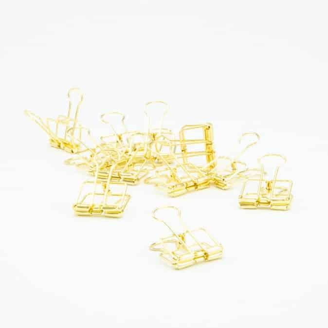 Afwerking - metalen clips gouden 4 x 19 cm