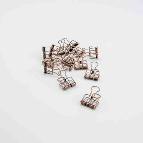 Afwerking - metalen clips kopere 4 x 19 cm