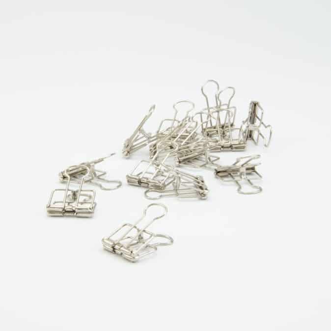 Afwerking - metalen clips zilveren 4 x 19 cm
