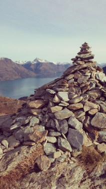 The ultimate rock pile marking the summit of Queenstown Hill.