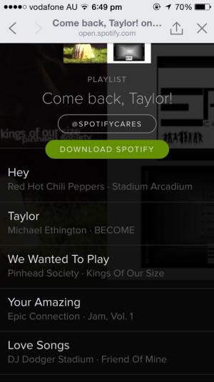 Spotify Playlist for Taylor Swift