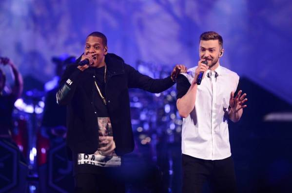 "Justin Timberlake and Jay-Z performing ""Holy Grail"" at The 20/20 Experience Tour in Barclays Center, New York"
