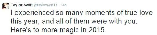 taylor swift tweet new year