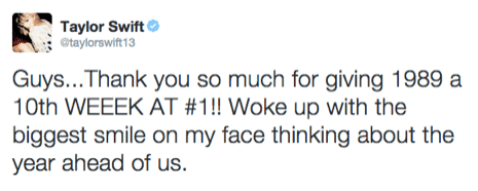 Taylor Swift tweets about '1989' returning back to top of Billboard 200 chart