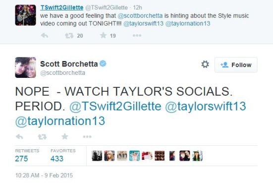 "Scott Borchetta denies release of ""Style"" music video after accidentally tweeting about it"