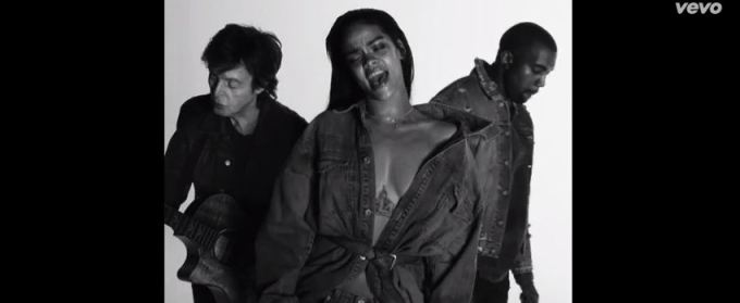 "The trio-Rihanna, Kanye West and Sir Paul McCartney in ""FourFiveSeconds"" music video"