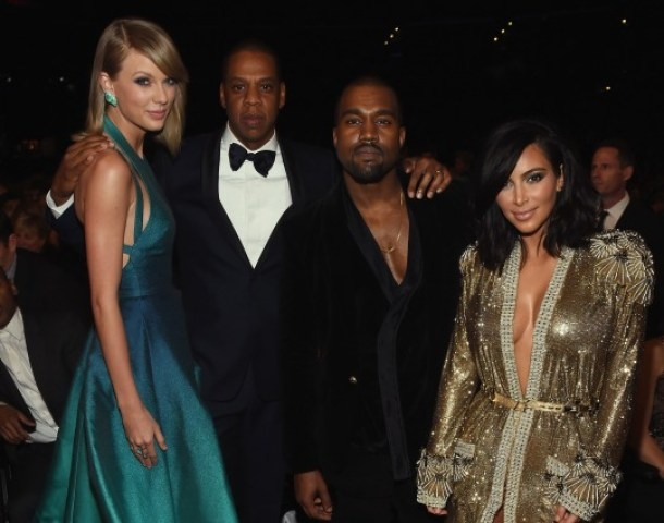 Taylor Swift, Jay Z, Kanye West and Kim Kardashian posed for a snap