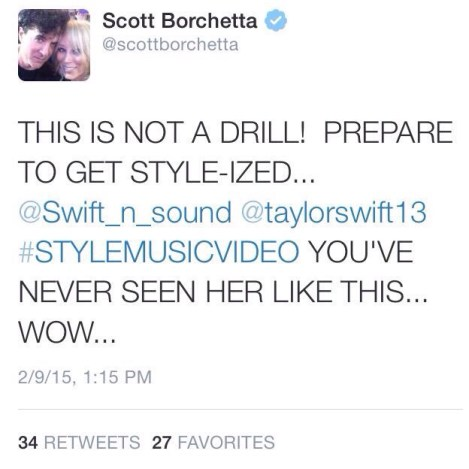 "Scott Borchetta tweets about ""Style"" music video"