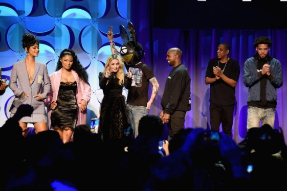 rihanna-nicki-minaj-madonna-deadmau5-kanye-west-jay-z-and-j-cole-onstage-at-the-tidal-launch-event-tidalforall-at-skylight-at-moynihan-station-on-march-30-2015-in-new-york-city