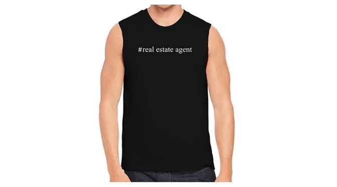Young Mens Black Real Estate Themed Shirt
