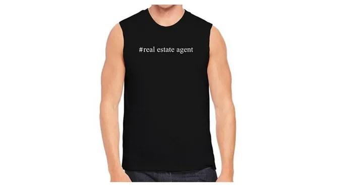 Young Mens Black Real Estate Themed Shirt