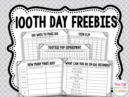 100th day math freebies