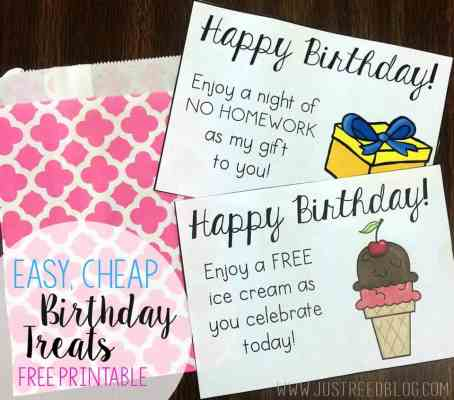 These printable birthday treats are perfect for quick, inexpensive class gifts. And what kid doesn't like ice cream and no homework?