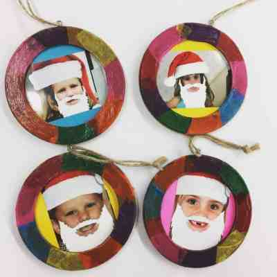 These stained glass photo ornaments are simple to make and are a parent-pleaser!