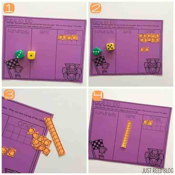 Race to 100 is a fun game for partners or individuals to practice regrouping.