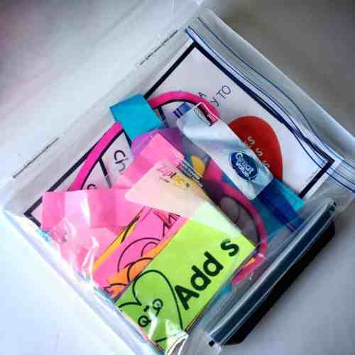 Keep your center or unit materials organized in ziploc bags and project boxes!