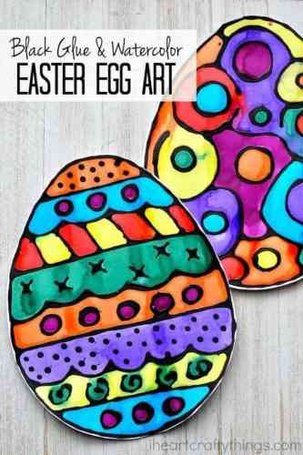 April art lessons are perfect for this black glue and watercolor Easter egg craft.