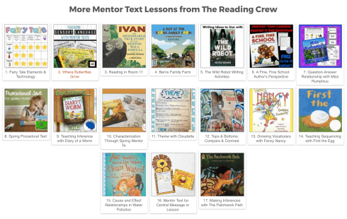 Grab these free print and go Mentor Text lessons from The Reading Crew.