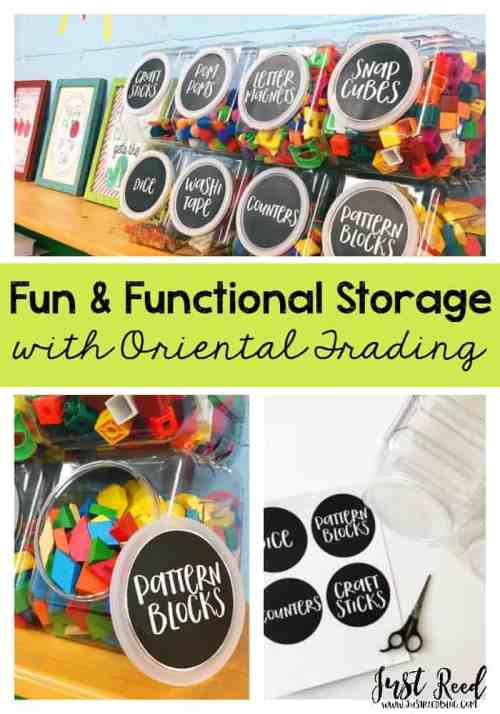 Fun and functional classroom storage for manipulatives and art supplies