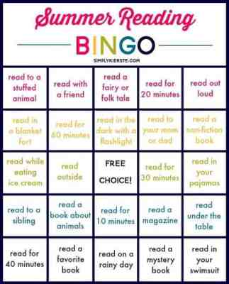 Free Summer Reading Bingo Board