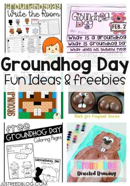 Groundhog Day Freebies including coloring pages, recipes, write th e room, and directed drawing